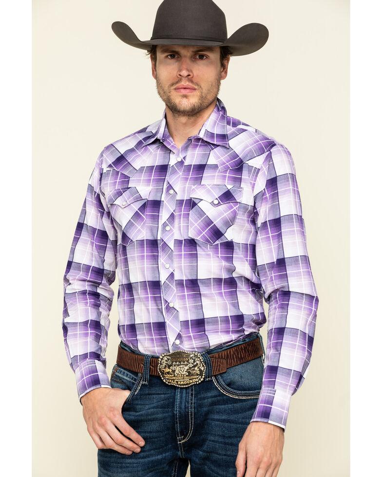Wrangler Retro Men's Purple Large Plaid Long Sleeve Western Shirt , Purple, hi-res