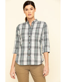 Carhartt Women's Twilight Relaxed 3/4 Sleeve Plaid Shirt , Dark Blue, hi-res