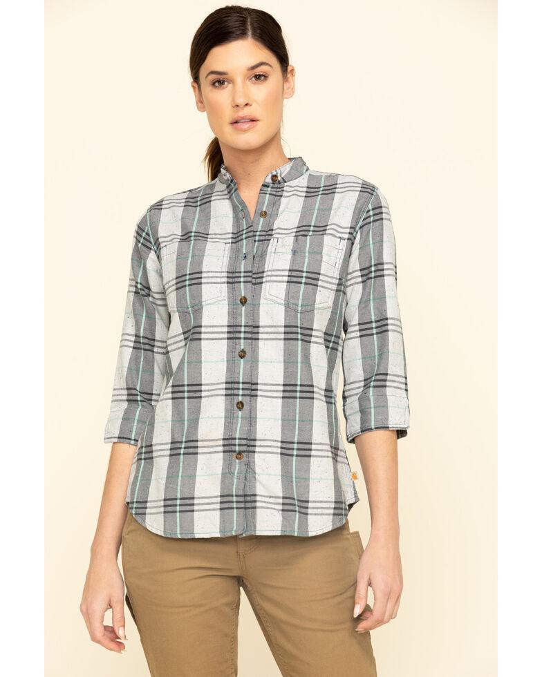 Carhartt Women's Twilight Relaxed 3/4 Sleeve Plaid Shirt , Dark Blue, hi-res