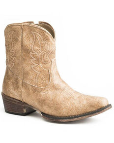 Roper Women's Tan Vintage Western Booties - Snip Toe, Tan, hi-res