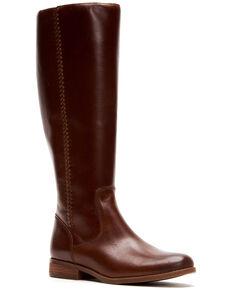 Frye & Co. Women's Cognac Jolie Braid Inside Zip Leather Western Boots - Round Toe , Cognac, hi-res
