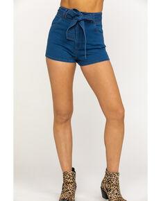 Flying Tomato Women's Medium Tie-Up High Rise Shorts, Blue, hi-res