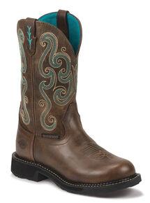 Justin Gypsy Women's Tasha EH Waterproof Work Boots - Soft Toe, Chocolate, hi-res