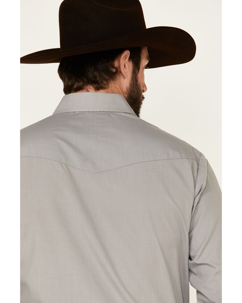 Roper Men's Solid Grey Long Sleeve Snap Western Shirt , Grey, hi-res