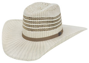 Justin Bent Rail Barrel Straw Cowboy Hat , Ivory, hi-res