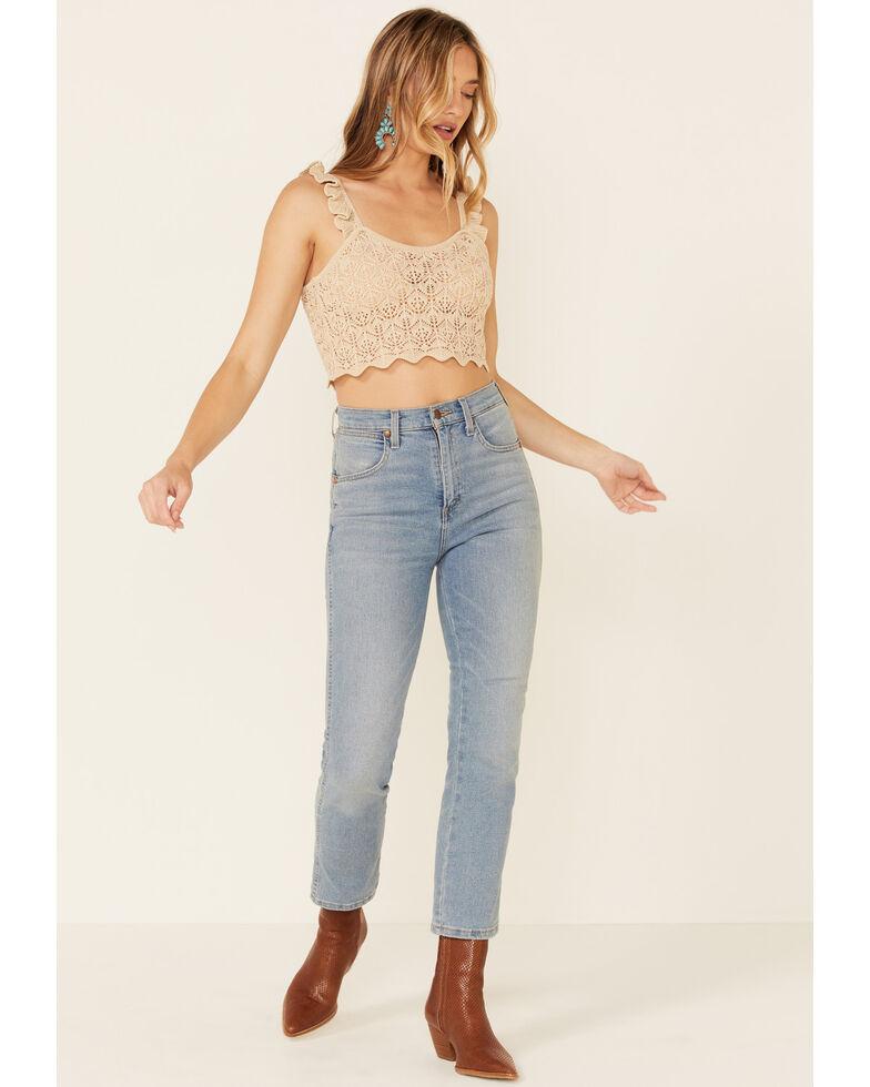 Very J Women's Natural Ruffle Strap Sweater-Knit Crop Tank Top  , Natural, hi-res