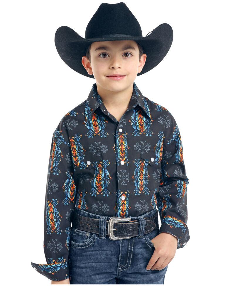 Rough Stock By Panhandle Boys' Taconic Vintage Aztec Print Long Sleeve Western Shirt , Black, hi-res