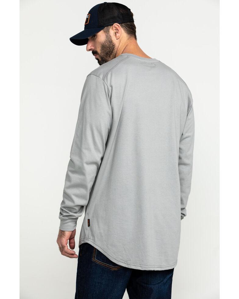 Hawx Men's Grey FR Pocket Long Sleeve Work T-Shirt - Big , Silver, hi-res