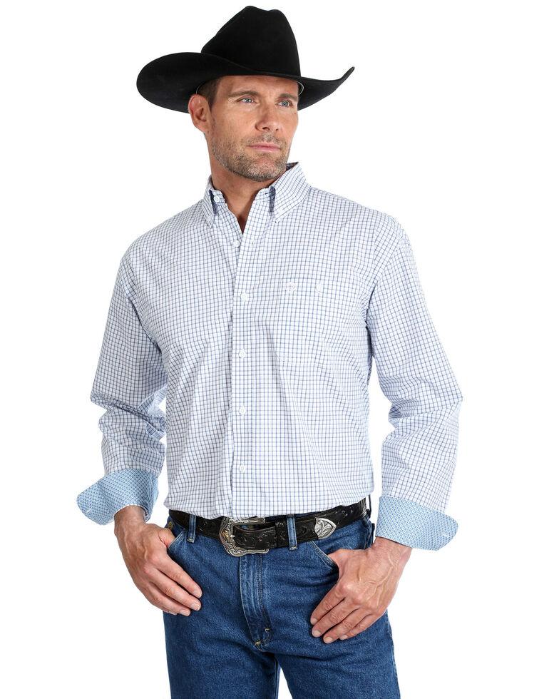 George Strait By Wrangler Men's Mini Check Plaid Button Long Sleeve Western Shirt - Big , Blue/white, hi-res