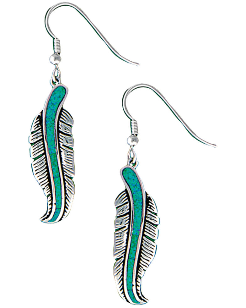 Montana Silversmiths Women's Storyteller Feather Dangle Earrings, Silver, hi-res