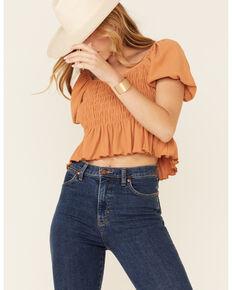 Very J Women's Rust Smocked Puff Short Sleeve Crop Top , Rust Copper, hi-res