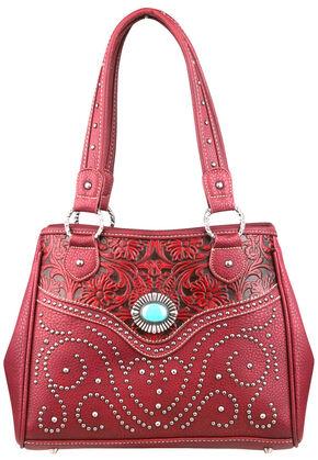 Montana West Trinity Ranch Tooled Design Handbag, Burgundy, hi-res