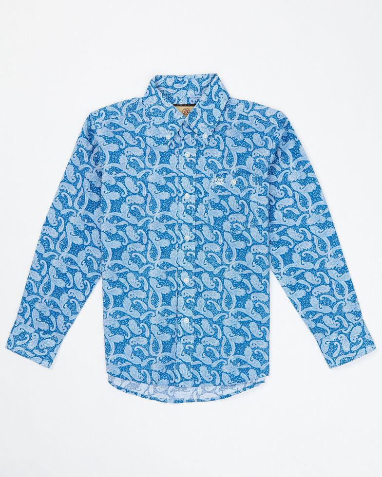 Wrangler Boys' Classic Blue Paisley Print Long Sleeve Button Western Shirt , Blue, hi-res