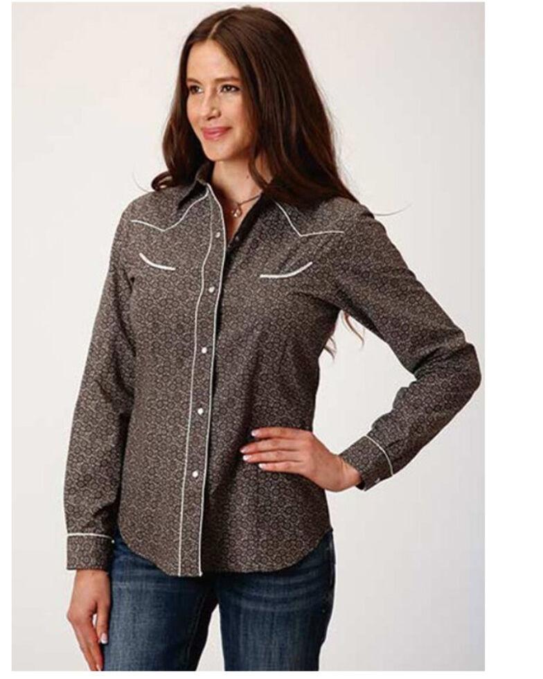 Karman Women's Floral Print Long Sleeve Western Shirt, Grey, hi-res