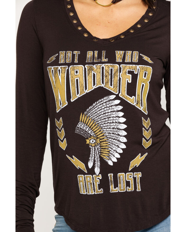 Rock & Roll Cowgirl Women's Not All Who Wander Are Lost Top, Brown, hi-res