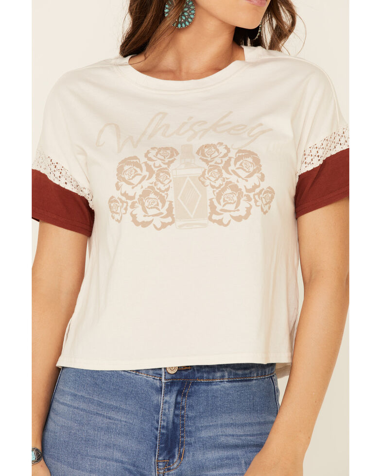 Shyanne Women's Sand Whiskey Lace Inset Graphic Tee , Sand, hi-res