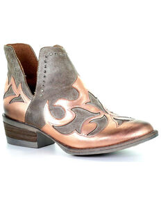 Circle G Women's Copper Overlay Cut Out Booties - Round Toe, Rust Copper, hi-res
