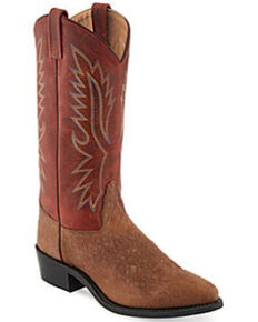 Old West Men's Authentic Western Boots - Round Toe, Brown, hi-res