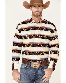 Wrangler Men's Multi Horse Checotah Border Print Long Sleeve Snap Western Shirt , Multi, hi-res
