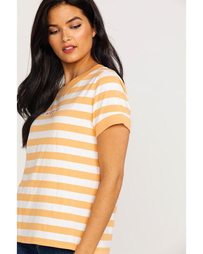 Wrangler Women's Modern Striped Ringer Logo Tee , Orange, hi-res