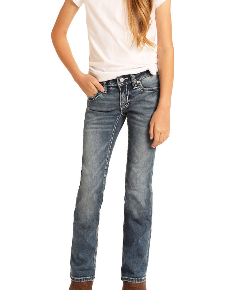 Rock & Roll Cowgirl Girls' Medium Embroidered Bootcut Jeans, Blue, hi-res