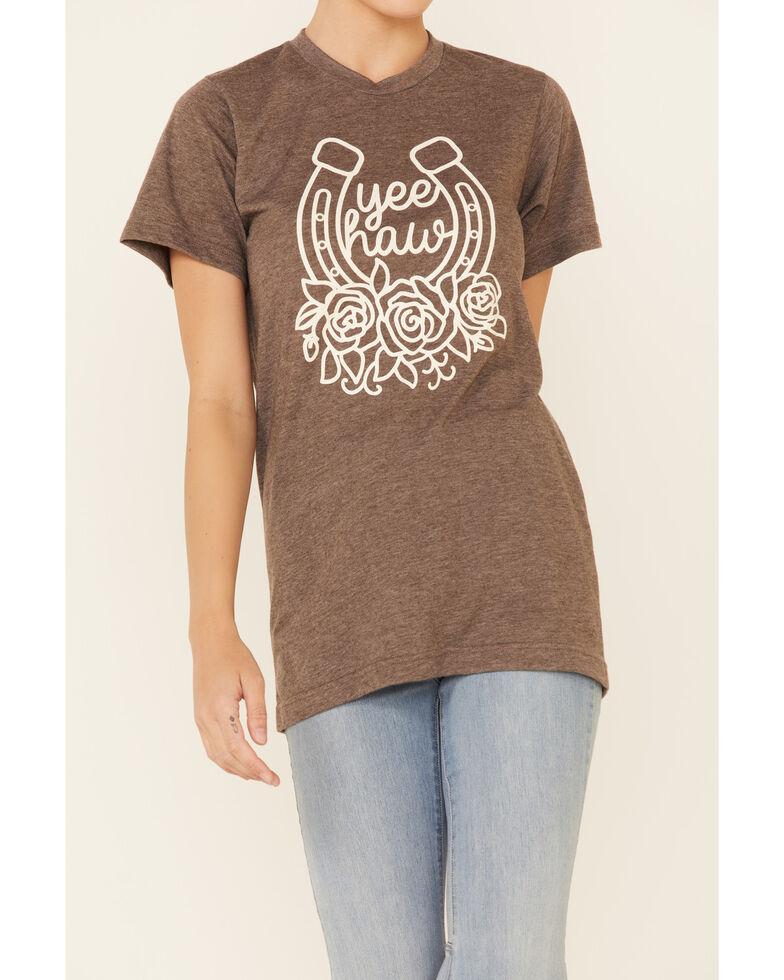 Ali Dee Women's Yee Haw Horseshoe Graphic Short Sleeve Tee , Brown, hi-res