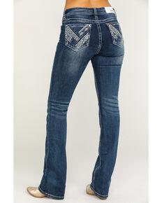 e8d7290792a Grace in LA Women's Light Wash Mid-Rise Aztec Pocket Bootcut Jeans