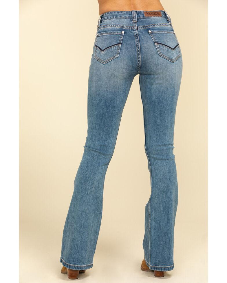 Rock & Roll Cowgirl Women's Medium Stripe Seam Flare Jeans, Blue, hi-res