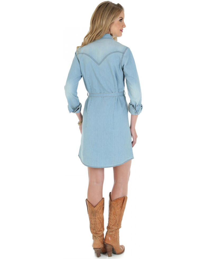Wrangler Long Sleeve Stonewash Denim Shirt Dress, Stonewash, hi-res