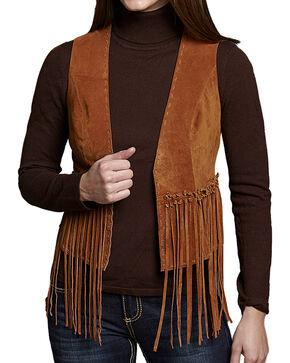Cripple Creek Women's Sandstone Fringe Vest , Cognac, hi-res