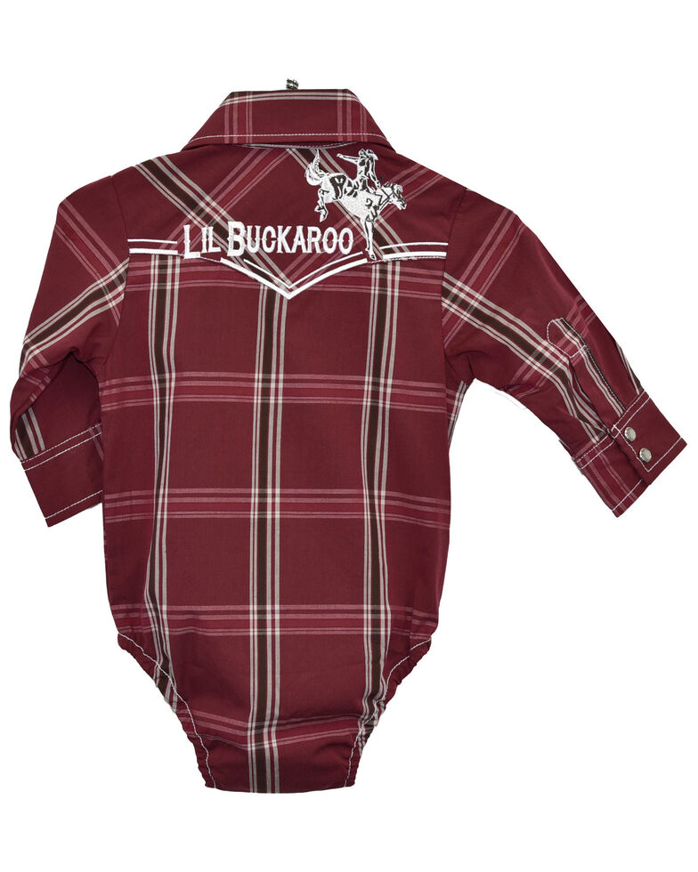 Cowboy Hardware Infant Boys' Burgundy Plaid Lil Buckaroo Long Sleeve Onesie, Burgundy, hi-res