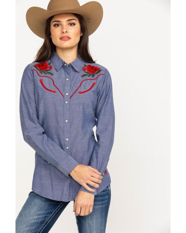 Ariat Women's Real Lively Dark Denim Snap Long Sleeve Western Shirt, Blue, hi-res