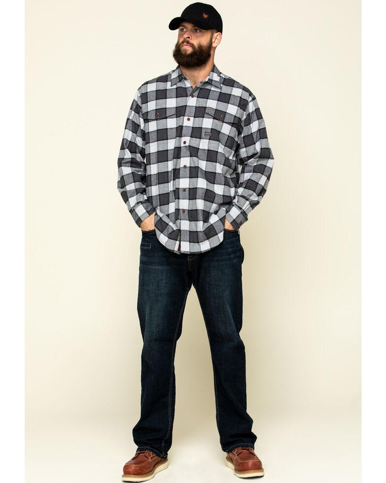 Ariat Men's Grey Heather Rebar Flannel Durastretch Plaid Long Sleeve Work Shirt - Tall , Grey, hi-res