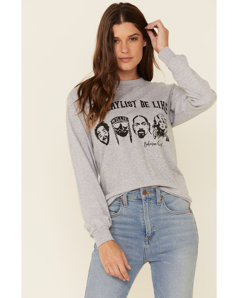 Bohemian Cowgirl Women's Grey Playlist Graphic Long Sleeve Top , Heather Grey, hi-res