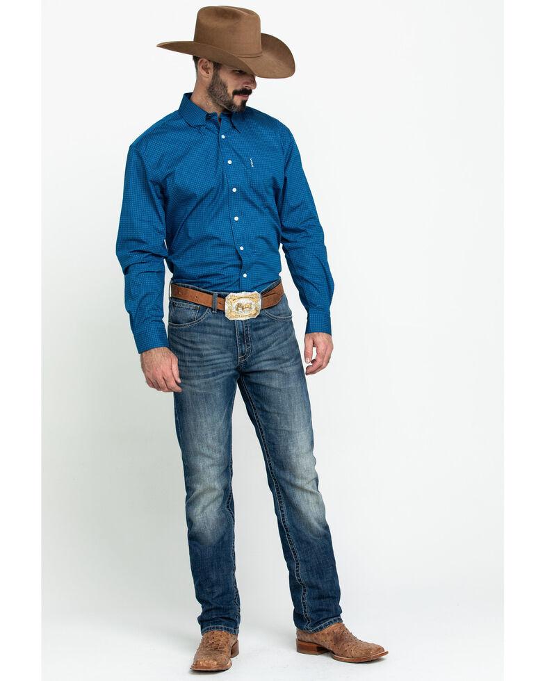 Cinch Men's Modern Fit Blue Small Geo Button Long Sleeve Western Shirt , Blue, hi-res