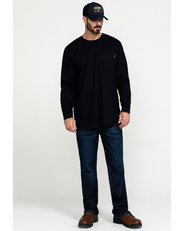 Hawx Men's Navy FR Pocket Long Sleeve Work T-Shirt - Big , Navy, hi-res