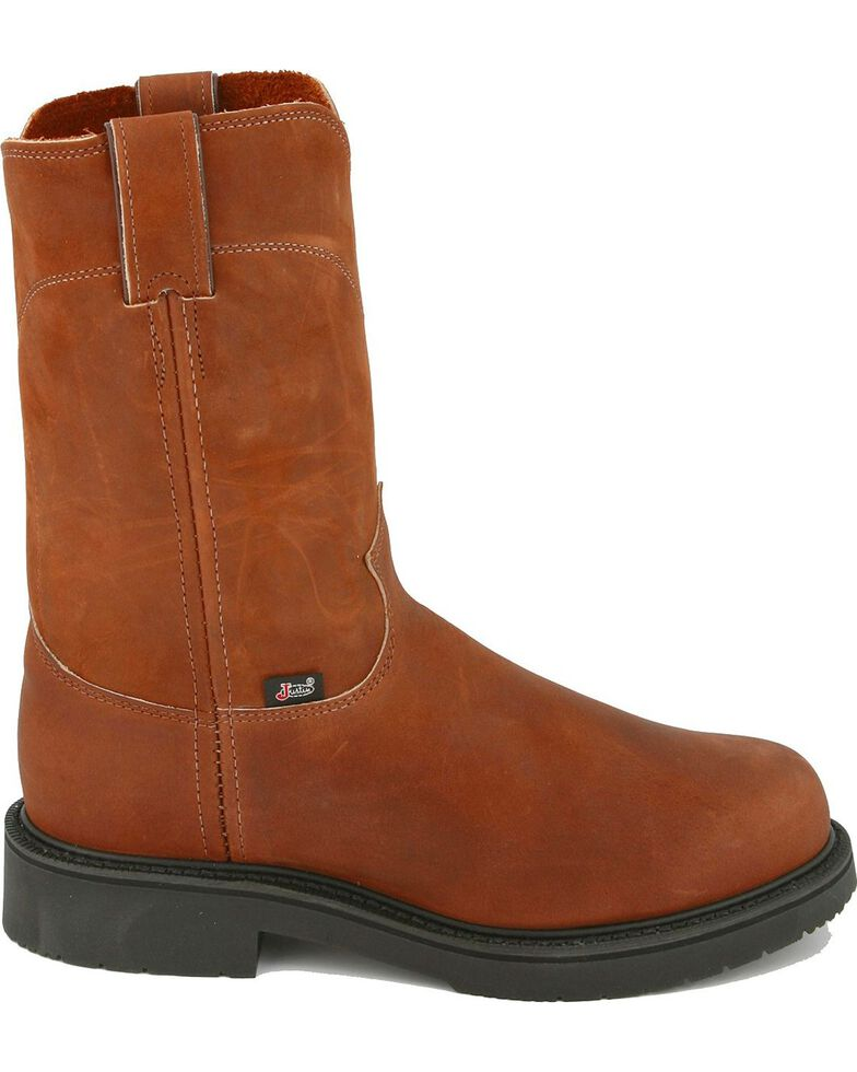 Justin Men's Cargo Brown Pull-On Work Boots - Soft Toe, Bark, hi-res