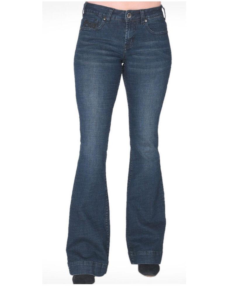 Cowgirl Tuff Women's Dark Wash Charisma Trouser , Blue, hi-res