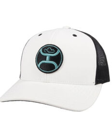 HOOey Men's Primo Logo Circle Patch Soft Mesh Back Trucker Cap , White, hi-res