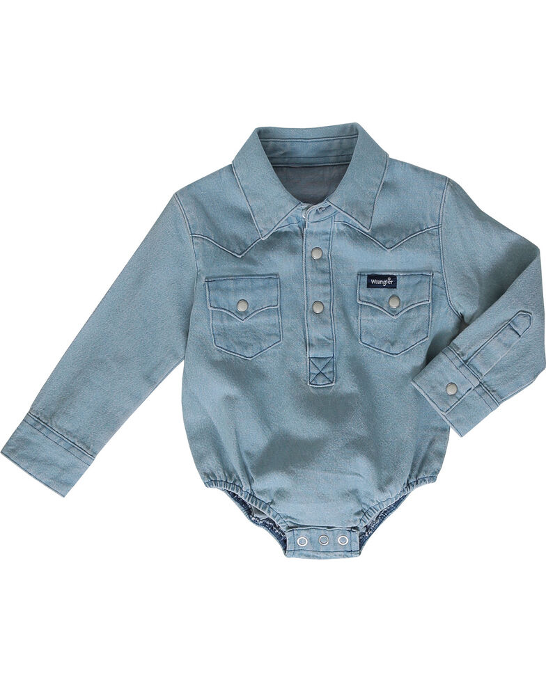 Wrangler Infant Boys' Blue Collared Onesie , , hi-res