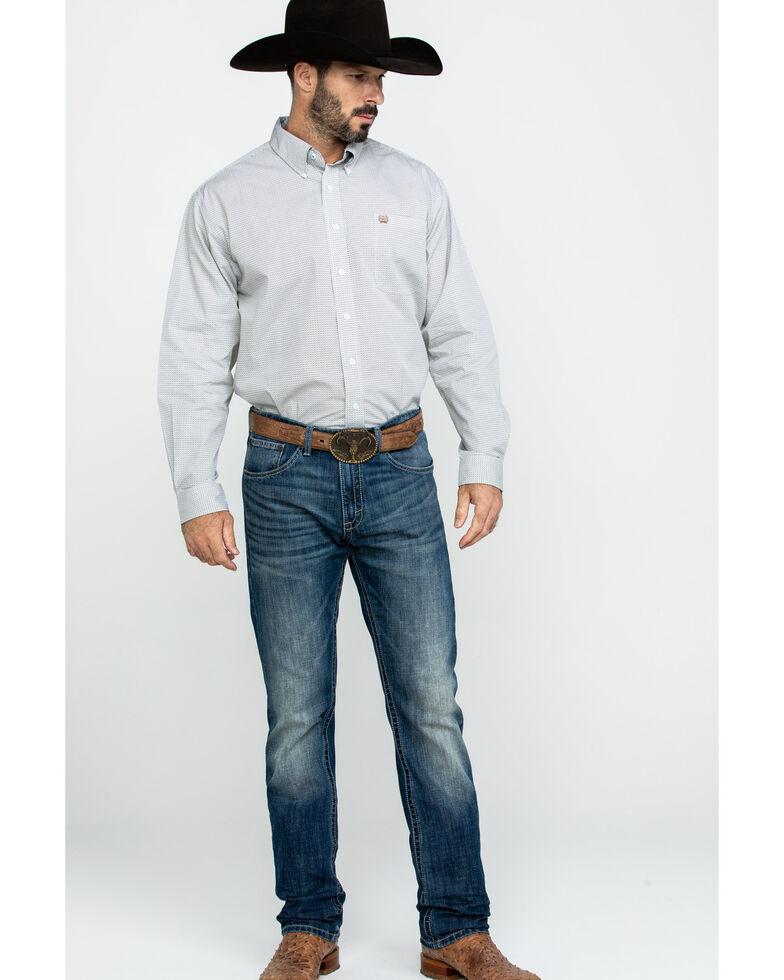 Cinch Men's Light Blue Geo Print Long Sleeve Western Shirt , Light Blue, hi-res