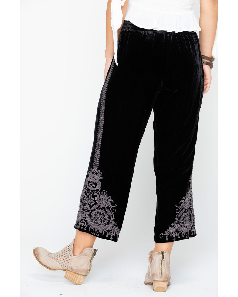 Johnny Was Women's Hirsch Velvet Embroidered Crop Pants , Black, hi-res