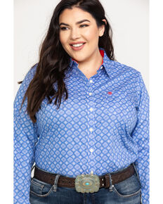 Ariat Women's Kirby Stretch Amparo Print Long Sleeve Western Shirt - Plus, Light Blue, hi-res