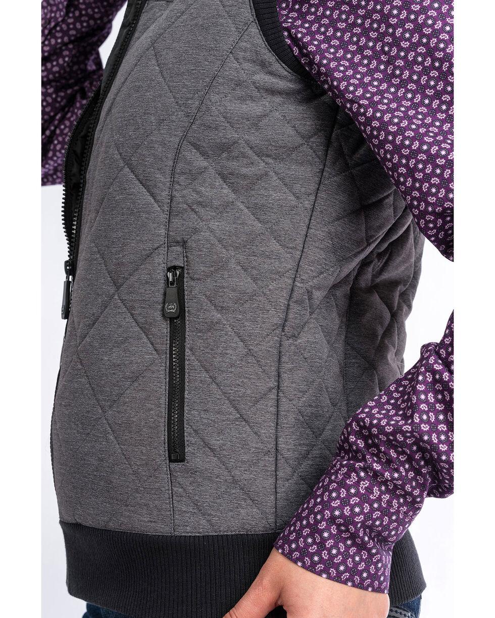 Cinch Women's Contrast Quilted Vest , Grey, hi-res