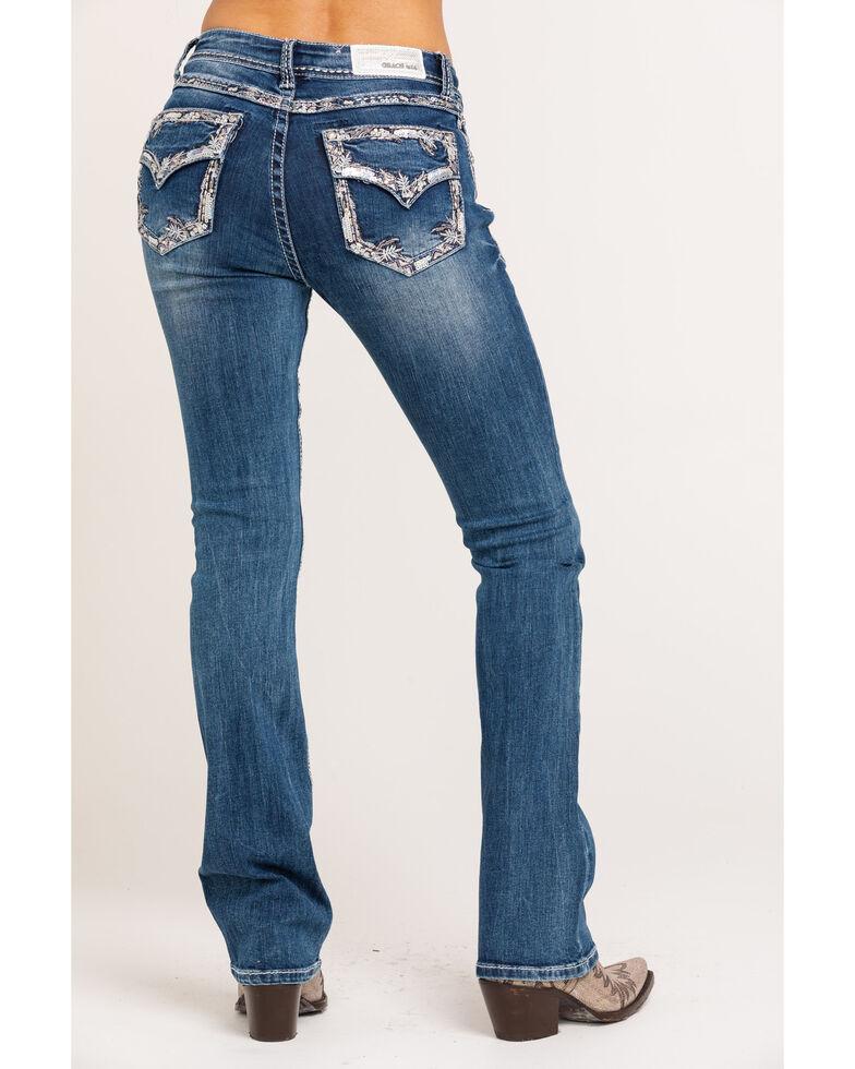 Grace in LA Women's Medium Mid-Rise Border Faux Flap Bootcut Jeans, Blue, hi-res