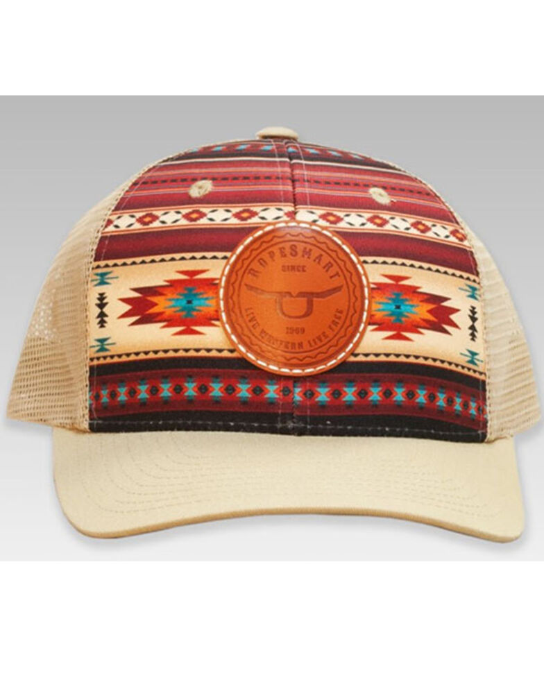 RopeSmart Women's Brown Aztec Leather Circle Patch Mesh-Back Ball Cap, Brown, hi-res
