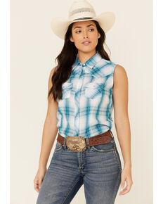 Ely Walker Women's Jade Plaid Sleeveless Snap Western Core Shirt , Jade, hi-res