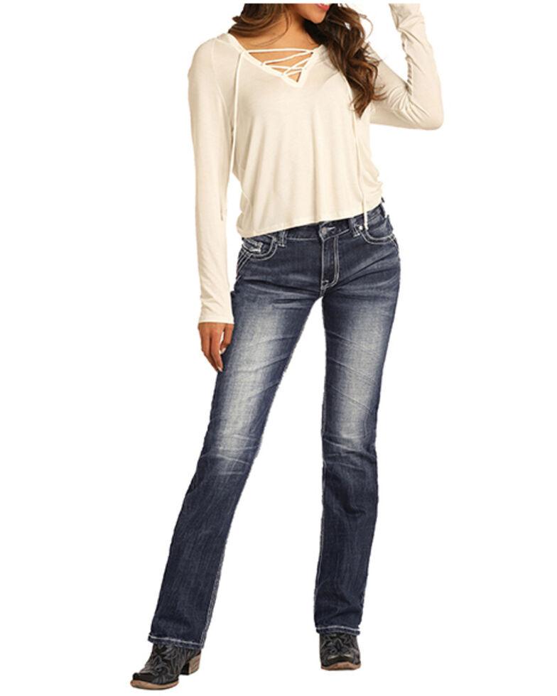 Rock & Roll Denim Women's Dark Vintage Boyfriend Straight Jeans, Blue, hi-res