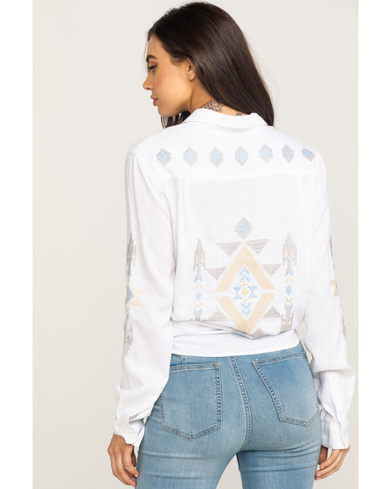 Stetson Women's Aztec Embroidered Long Sleeve Western Shirt, White, hi-res