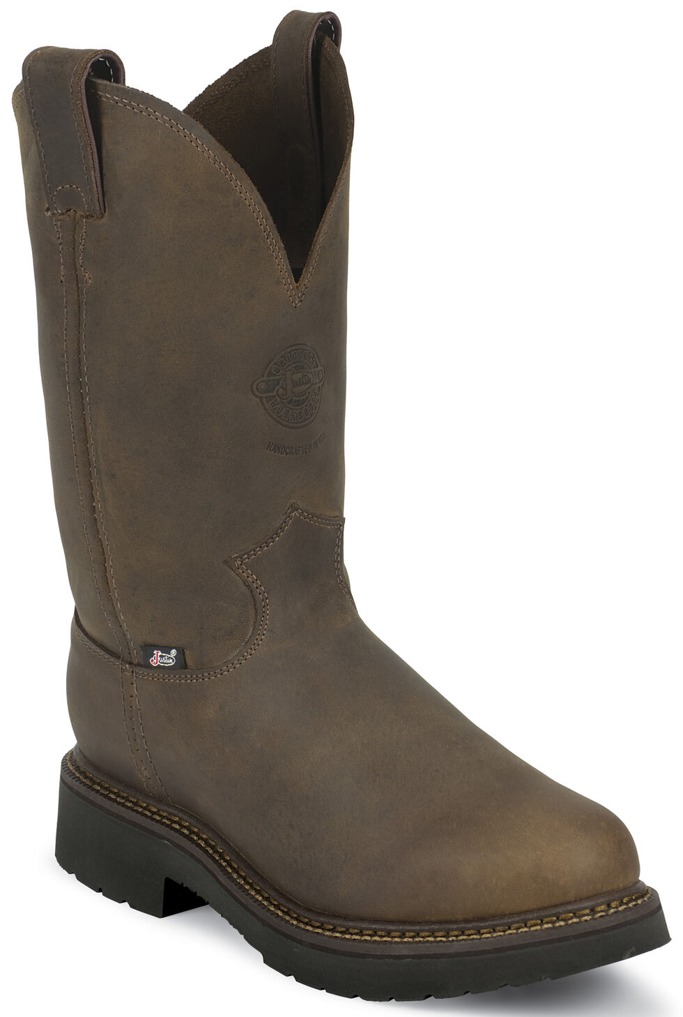 Justin Men's J-Max Balusters Electrical Hazard Pull-On Work Boots - Steel Toe, Chocolate, hi-res